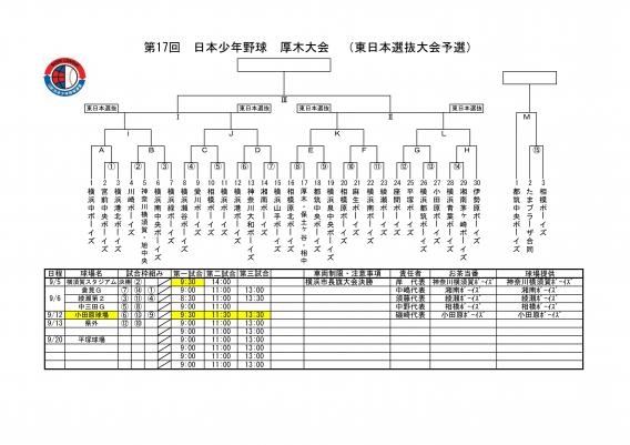 第17回 厚木大会(東日本選抜大会予選)開催日程決定!